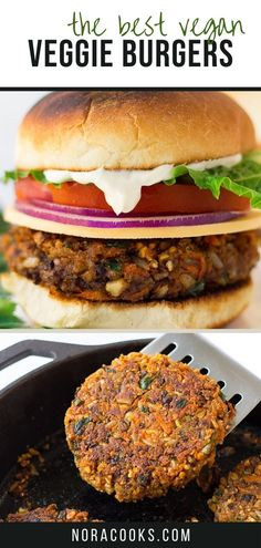 This is my go-to vegan burger recipe and it's by far the BEST veggie burger out there! Made with black beans, brown rice, cashews and veggies, these burgers hold together well so they're perfect for tossing on the grill for your next BBQ or cookout. They're so simple to cook and make a huge batch, so be sure to set some aside for leftovers and meal prep. #veggieburger #vegan #veganburger #healthy