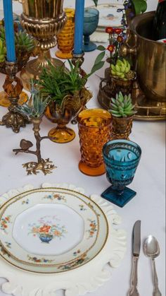 Little Boho + Modern  inspired head table- we used vintage glassware and brass accents @DixiDoesVintage Dixie Does Vintage Rentals in Dallas TX