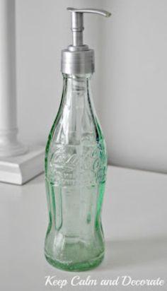 DIY Soap Dispensers - Coke Bottle Soap Dispenser - Easy Soap Dispenser Ideas to . - DIY Soap Dispensers – Coke Bottle Soap Dispenser – Easy Soap Dispenser Ideas to Make for Kitche - Coke Bottle Crafts, Glass Bottle Crafts, Diy Bottle, Mason Jar Bathroom, Diy Bathroom, Bathroom Ideas, Bathroom Remodeling, Small Bathroom, Glass Coke Bottles