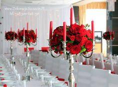 czerwone kwiaty - wesele