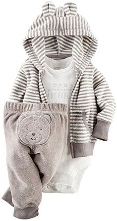 Carter's 3 Piece Terry Cardigan Set (Baby) - Gray Carter's is the leading brand of children's clothing, gifts and accessories in America, selling more than Carter's Baby Boys' 3 Piece Terry Cardigan Set (Baby)