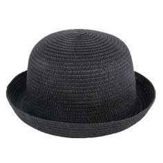 b34f3b84f04 Amazon.com  Elee Children Kids Vintage Straw Roll Up Brim Bowler Hat Cloche  Cap Dome Sunhat ( 1 Black)  Clothing