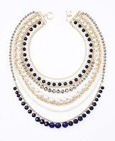 """Pearlized Navy Statement Necklace - This spectacular necklace is the epitome of all-out glamour, flaunting a dazzling array of pearlized beads, faceted stones and luxe chains. Toggle clasp. 30"""" including 7"""" drop."""