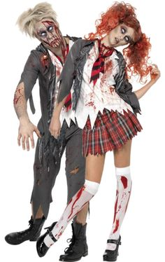 Zombie School Girl and Boy Find us on Facebook https://www.facebook.com/FancyDressCo  Find us on instagram @fancydressco  See all our amazing products on our eBay Store http://stores.ebay.co.uk/fancydresscompany #Halloween #FancyDress #Zombie #Couples