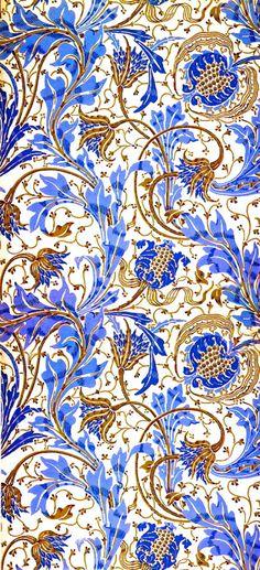 Florais do Art Nouveau! Pretty Patterns, Beautiful Patterns, Color Patterns, Crewel Embroidery, Embroidery Designs, Embroidery Tools, Embroidery Needles, Embroidery Dress, Pattern Art