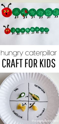 My son loved making these after we learned about caterpillars turning into butterflies and read The Very Hungry Caterpillar. #caterpillar #caterpillars #veryhungrycaterpillar #hungrycaterpillar #kids #kidscrafts #crafts #craftsforkids #diycrafts #kidsactivities #activitiesforkids #butterfly #butterflycrafts #butterflies #theinspirationboard Diy Crafts For Tweens, Animal Crafts For Kids, Craft Projects For Kids, Easy Crafts For Kids, Craft Activities For Kids, Diy For Kids, Project Ideas, Numeracy Activities, Craft Ideas
