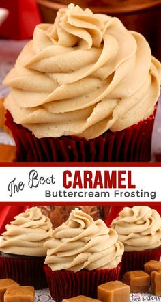 The Best Caramel Buttercream Frosting - sweet, creamy and delicious. This frosting tastes great on nearly every type of cake, cupcake or cookie. If you are looking for a rich. buttery and easy to make homemade butter cream frosting . this is the yummy c Food Cakes, Cupcake Cakes, Cookie Cakes, Cookies, Caramel Buttercream Frosting, Caramel Cake Filling, Frosting Recipe For Cake, Best Frosting For Cupcakes, Homemade Frosting Recipes