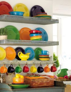 Kitchen shelves with hooks cabinet colors 60 New ideas New Kitchen, Kitchen Decor, Fiesta Kitchen, Rainbow Kitchen, Vintage Dishware, Cabinet Colors, Kitchen Shelves, Kitchen Colors, Open Shelving