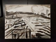 Beginning value study of dock and harbor and sunset. #art #oilpainting #fineart