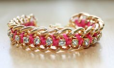 Watermelon Pink Woven Chain and Rhinestone by SeeSongDesigns, $30.00