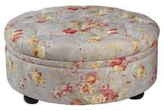 "Barnes 39"" Cocktail Ottoman, Dusty Blue on OneKingsLane.com sometimes a little chintz is nice."