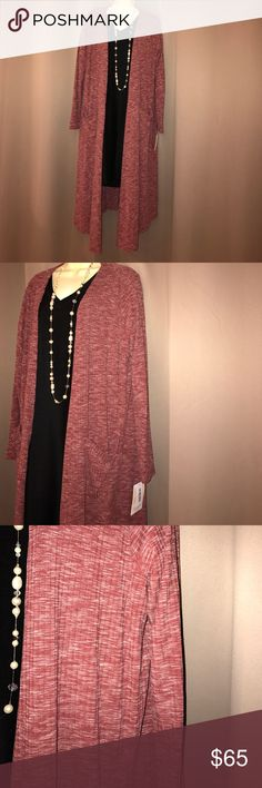 NWT LuLaRoe Sarah Brand new with tags size large Sarah duster in a heathered maroon color. Material is 85% polyester 9% rayon 6% spandex. Perfect to dress up or dress down. Sample of casual outfit in last photo (the Sarah pictured in the last photo is not the item for sale). LuLaRoe Sweaters Cardigans