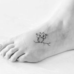Little owl #tattoo by Luiza @luiza.blackbird (via @tattoofilter) #littletattoo…