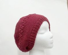 Knitted beanie wool slouchy beanie rose color hat  by CaboDesigns