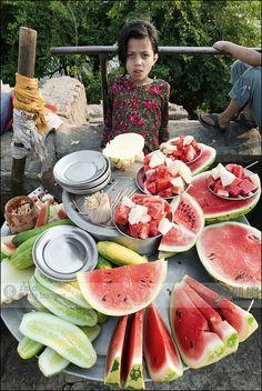 watermelon & nepali cucumber, street market, Kathmandu, Nepal