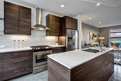 Contemporary Kitchen with Breakfast nook, Flush, Arizona Tile Adirondack Birch Quartz, Simple granite counters, flush light