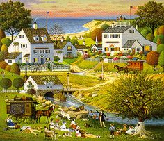 My Grandma always had Charles Wysocki calendars.  Instead of bedtime stories, she and I would make up stories about the people and animals in the towns in the paintings <3 <3  I was probably 4 or 5 years old!