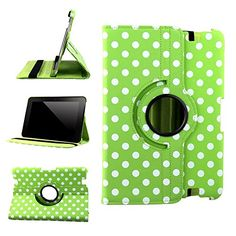 "myLife Citrus Green and Rapids White {Polka Dots Scattered Dots Vintage Speckles} 360 Degree Rotating Case for Amazon Kindle Fire 8.9 HDX (High Quality Koskin Faux Leather Cover + Slim Lightweight Design) ""All Ports Accessible"" myLife Brand Products http://www.amazon.com/dp/B00TOZBVAU/ref=cm_sw_r_pi_dp_OE2avb0ZEBG56"