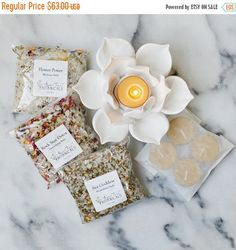 SALE - Lotus Bath Gift Set - A Luxurious Gift for Her with Organic Bath Salts, Handmade Ceramic Lotus Tealight Holder + 4 Beeswax Tealight C