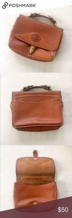 Vintage DOONEY & BOURKE Brown Leather Satchel Bag Light wear w some slight discoloration on edges and a couple small scuffs, good vintage condition, looks great! See all pics Dooney & Bourke Bags Satchels