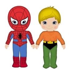 Spiderman & Aquaman clip art