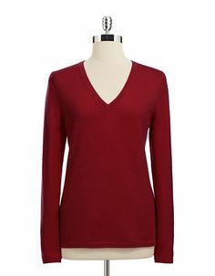 Lord & Taylor V-neck Wool Sweater