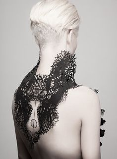 "Kaminer Design - ""Black Sacral""   Made of PVC,fabric, brass and zirconia rhinestones #fashion #elements"