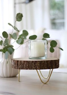 Footed Wood Slice Tray