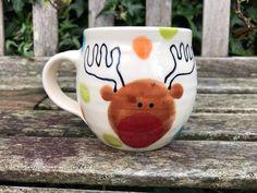 Excited to share this item from my #etsy shop: Ceramic Mug / Handmade Pottery / 380ml / Christmas Mug / Rudolph #ceramicmug #gift #potteryhandmade #potteryandceramics #ceramic #ceramics #pottery #handmade