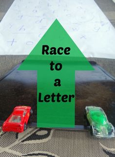 Preschool Reading Activity: Kids love to race their cars to the letters!