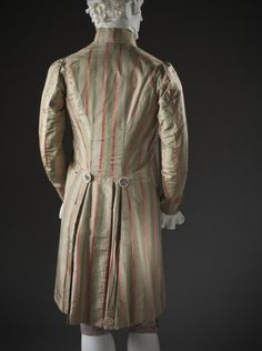 Man's Coat, Unknown, France, circa altered circa Costumes, Silk plain weave and silk satin stripes. Antique Clothing, Historical Clothing, Rococo Fashion, Vintage Fashion, 18th Century Costume, Frock Coat, 18th Century Fashion, Old Dresses, Period Outfit
