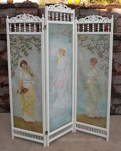 Omg Shabby French Antique Chic Victorian Oil Painting Dressing Screen Divider Shabby Chic Romantic Cottage <3