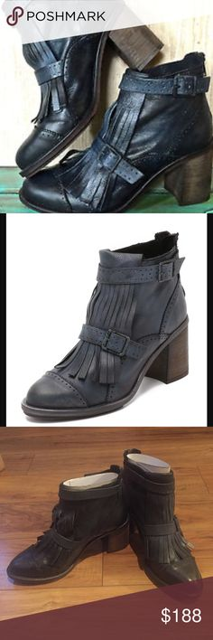 "NEW FREE PEOPLE LEATHER BOOT Euro 37.    Distressed leather ankle boot featuring a pointed toe with fringed tassel detailing. Buckle accents with an adjustable ankle strap and a back zip for an easy on/off. Stacked heel.  Leather Rubber Made in Spain Heel: 3.0"" = 7.62 cm Shaft: 4.25"" = 10.8 cm Free People Shoes Ankle Boots & Booties"