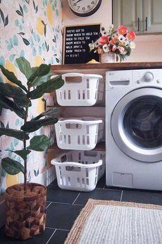 20 laundry room organization ideas for a tidy room - furnishing ideas Laundry Room Cabinets, Laundry Room Organization, Diy Organization, Diy Cabinets, Bathroom Storage, Laundry Storage, Laundry Shelves, Basement Laundry, Small Laundry Rooms