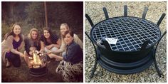 Made from a recycled steel car wheel, this crafty backyard grill and fire pit is the perfect size for roasting s'mores with your friends on a hot summer night.