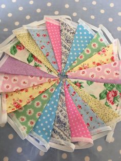 Summer bunting in cotton fabrics available from www.etsy.com/shop/patchworkandlace