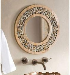 farmhouse home accents Bloomsbury Market Froelich Riverstone Framed Round Accent Mirror