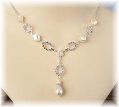 Crema perlas Rhinestone delicada gota de perla por BridalDiamantes