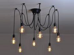 Araignée lustre 6-12 lumières pendentif pieuvre lustre lumière industriel lustre industriel éclairage moderne Eclairage pendentifs suspendus