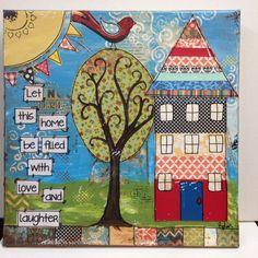 House Warming 12x12 Mixed media canvas let by heartfeltByRobin, $65.00
