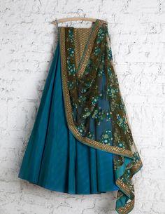 SwatiManish Lehengas SMF LEH 180 17 Sapphire lehenga with floral threawork dupatta and antique gold sequin threawork blouse Lehenga Designs Simple, Half Saree Designs, Dress Designs, Indian Attire, Indian Ethnic Wear, Indian Dresses, Indian Outfits, Indian Clothes, Indian Skirt