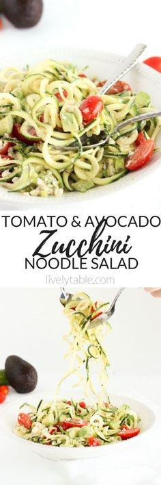 "A delicious, refreshing, and super-simple zucchini noodle, or ""zoodle"" summer salad made with avocado, feta and tomatoes. (gluten-free, vegetarian) 
