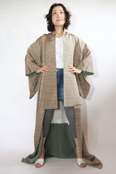 Olive Authentic Japanese Vintage Kimono, Costume, Robe by CJSTonbo on Etsy