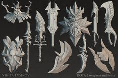 Weapons and items for Dota 2 Nikita Evsikov on ArtStation at… Fantasy Blade, 3d Fantasy, Sci Fi Weapons, Fantasy Weapons, Sea Of Thieves, Digital Sculpting, Low Poly 3d, Prop Styling, Weapon Concept Art