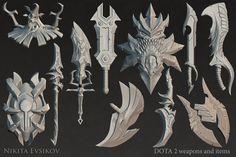 Weapons and items for Dota 2 #2, Nikita Evsikov on ArtStation at https://www.artstation.com/artwork/weapons-and-items-for-dota-2-2