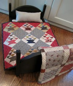 Quilt by Kathleen Tracy Quilt Baby, Quilt Bedding, Crib Quilts, Doll Bedding, Small Quilts, Mini Quilts, Dollhouse Quilt, Dollhouse Ideas, Amish Dolls