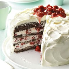 German Black Forest Cake Recipe from Taste of Home -- shared by Stephanie Travis of Fallon, Nevada. This cake offers a variation on traditional decorations for a Black Forest Cake. Cupcakes, Cupcake Cakes, Baking Recipes, Cake Recipes, Dessert Recipes, Healthy Recipes, German Black Forest Cake, Black Forest Cake Germany, Bolos Naked Cake