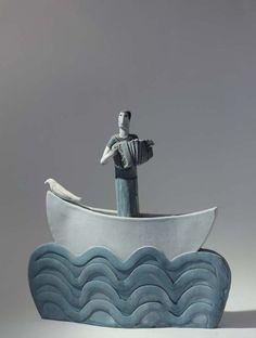 blue - Musician in a Boat with Bird –  Anna Noel - figurative ceramic