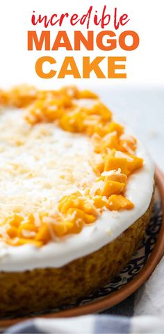 Eggless Mango Cake is a moist soft cake thats got real mangoes and has the most intense flavour and colour from them. Summer Cakes, Summer Desserts, Mango Recipes, Vegan Recipes, Eggless Recipes, Cake Recipes, Dessert Recipes, Breakfast Recipes, Mango Curry