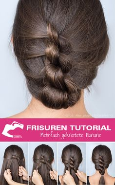 Hairstyles Tutorial: Multiple Knotted Banana Frisuren Tutorial: Mehrfach geknotete Banane Multiple knotted banana, which is not one . The multi-knotted banana disguises itself as a classic updo, but is styled differently. Our styling guide mak Unique Hairstyles, Braided Hairstyles, Formal Hairstyles, Hairstyle Braid, Braid Hair, Hairstyles Haircuts, Hair Pictures, Hairstyles Pictures, Fashion Pictures